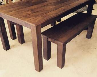 Farmhouse Table 6ft/  Matching Bench Included/ Rustic/Built to Order