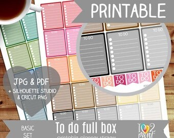 To Do Full Box Printable Planner Stickers, Erin Condren Planner Stickers, To Do Planner Stickers, Full Box Printable Stickers - CUT FILES