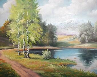 Antique oil painting forest lake landscape
