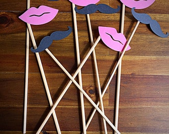 Mustache and lips party props.   Party accessories.   Guest gifts.   Photography props.