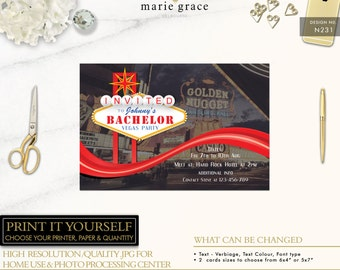 Bachelor Party Invitation Template, Las Vegas Party, Bachelor Invitation, Casino