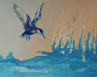 "painting:""The bird above the lake"" 50x70cm"