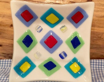 """Art Deco Candy Dish, Bowl 7"""" in Diameter, Vivid Colorful Squares ~ Diamonds, Red Yellow Blue White Green Purple"""