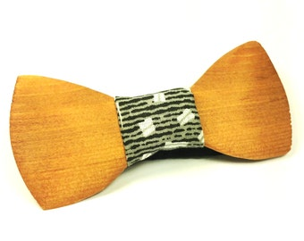 Wooden Bow Tie, Gray fabric
