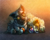 Poochyena and Growlithe Print A4 by Nordeva