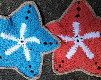 Starfish washcloth set, starfish washcloths, washcloths