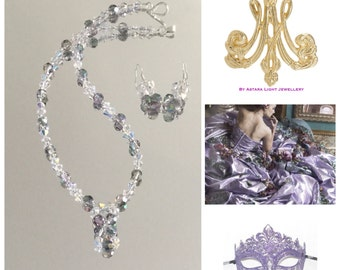 Masquerade Crystal Necklace & Earrings