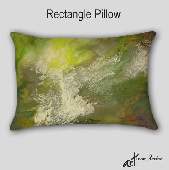 Olive green Throw Pillow Lime brown Yellow Modern Home