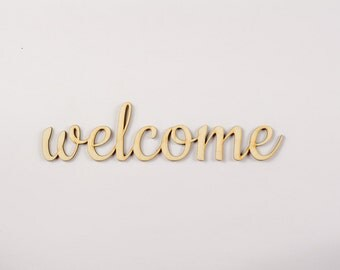 Welcome wooden sign - Lasercut - cutout - wedding decoration - gift - hanger - door decor
