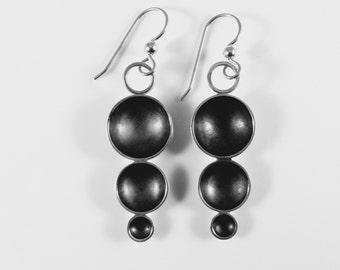sterling silver, bubble, handmade,dangle, artisan earrings
