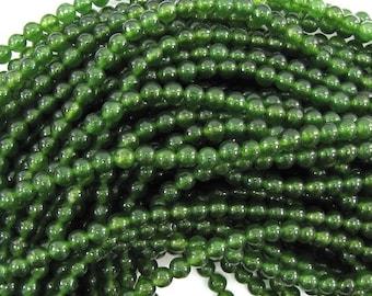"4mm Canada green jade round beads 15.5"" strand 30436"