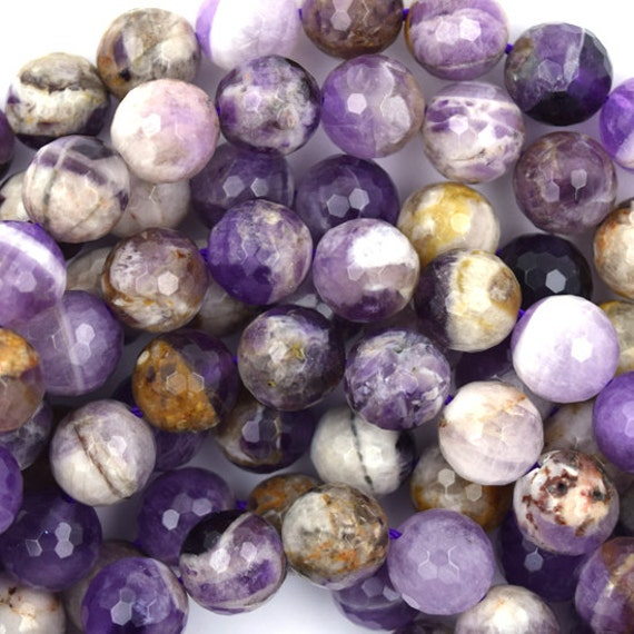 "10mm faceted natural amethyst round beads 15.5"" strand 36891"