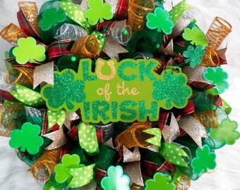 St. Patricks Day Wreath/ St. Patricks Wreath/ Shamrock Wreath/ Irish Wreath