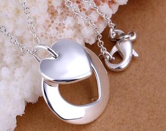 SS Couple Heart Pendant Necklace