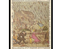 Raining Cats and Dogs Antique Dictionary Upcycled Art Print Sheet Music Mixed Media Book Page Artwork A031
