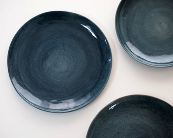 stoneware plates dinner set glazed in dark blue ceramic plate blue blue pottery - Stoneware Dishes