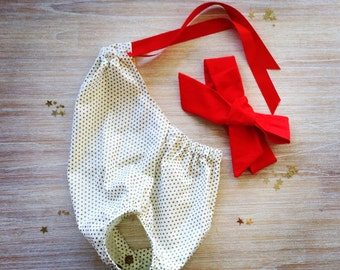 Gold polka dot Romper/Sunsuit, handmade with 100% cotton, with a beautiful soft red ribbon neck tie