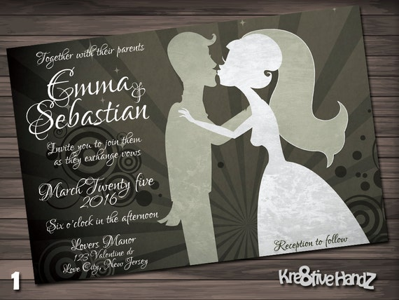 Modern wedding invitation - personalized printable invite for the modern bride and groom wedding - includes free rsvp card