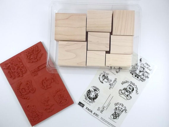 Vintage Christmas Rubber Stamps 1992 Set of Eight by Stampin Up Holiday Stamps Retired Rubber Stamps Craft Stamps Card Maker Stamps Destash