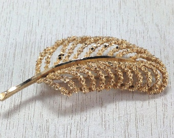 Stunning Signed Vintage Estate BSK Feather Leaf Quill Brooch