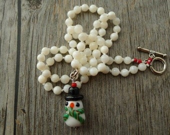 Handmade glass snowman necklace, mother of pearl beads, hand knotted, handmade, no. NECK-426