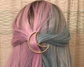 Gold OR Silver Crescent Moon Hair Clip