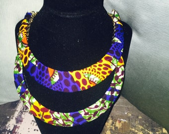 African fabric necklace; half moon shaped
