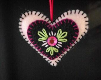 Pink Felt Heart Ornament
