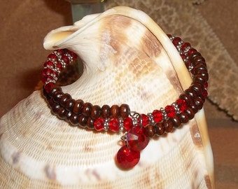 July Birthstone Ruby Red Swarovski Crystal & Rosewood Hand Crafted Wrap Bracelet