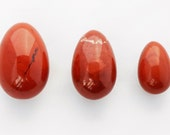 Quartz Yoni Eggs for Women-Red Jasper Jade Eggs- Set of Three- Health and Wellness-Kegel Exercise Pelvic Health Drilled with Hole with Pouch