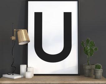 U Letter Print, Initial Wall Art, Scandinavian Art, Scandinavian Poster, Initial Poster U Letter Poster, U Letter Print, INSTANT DOWNLOAD