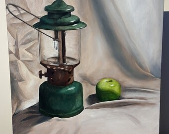Lantern and Apple Oil Painting on Board