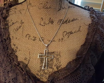 Large Vintage Sterling Silver Cross with Sterling Rope Chain