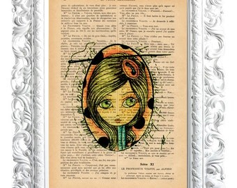 My grandmother. Print on French publication of illustration. 28x19cm