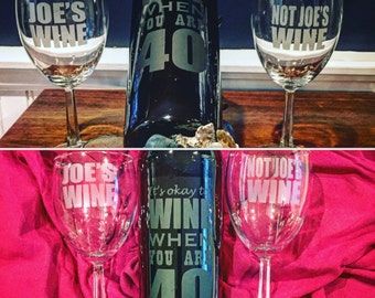 Etched Wine Bottle and Glasses Set