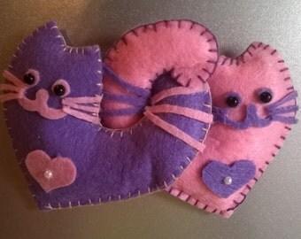Refrigerator Magnets - Felt Fridge Magnet - Handmade - loving cats