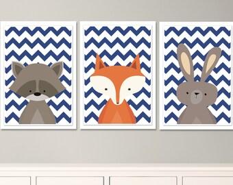 Baby Fox Nursery Art, Raccoon, Rabbit Nursery Art, Navy Baby Boy Woodland Nursery Art- 3-21x30cm to fit RIBBA Ikea Frames - Instant Download