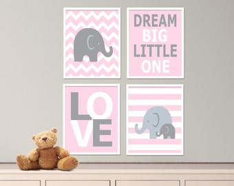 "Printable Elephant Nursery Art Print Set, Suits Baby Girl Boy Nursery, Pink and Gray Nursery Decor, Set of 4 -8x10"" Digital Instant Download"