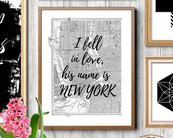 New York, NYC, state print, New York City, NYC art print, New York Map, I Love NY, New York I Love You