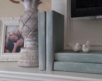 Spring Decor, Robins Egg Blue, Painted Books, blue green aqua teal books, aqua books, French Country Decor, Rustic Wedding, Duck Egg, beach