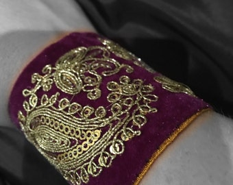 Velvet sparkly embellished cuff with hidden money pocket