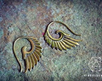 Tribal Wings Earrings, Sacred Geometry, Brass Jewelry, Tribal Earrings, Indian Jewelry, Ethnic Jewelry, Bohemian Jewelry, Yoga Jewelry