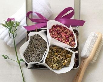Bath Tea, Bath Gift Set, Spa Gift Set for Her, Scented Sachets, Bath and Body Relaxation, Tin Gift Box, Bath Salt, Mini Relaxation Kit