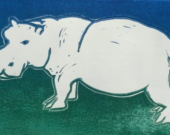 White Hippopotamus Linocut Print