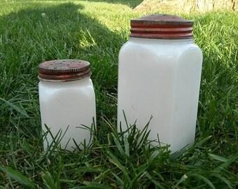 Vintage Milk Glass Shakers