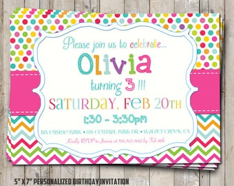 Rainbow birthday invitation with polka dot & chevron - personalized for your party - digital / printable DIY girls birthday invite