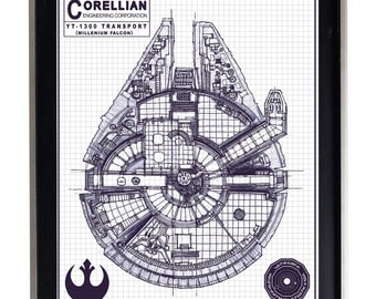 Millenium Falcon Blueprint Poster Print Matte Star Wars Schematic Diagram