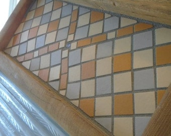 Mosaic Antique Washboard in Orange, Blue and Cream