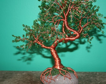 Beaded copper wire tree