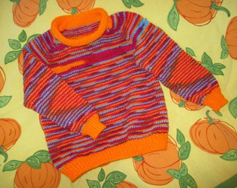 Child's Hand-knitted Top Down Pullover - Size 6
